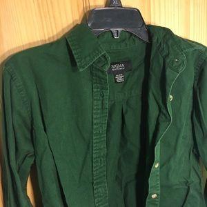 Tops - Dark Green Button Up